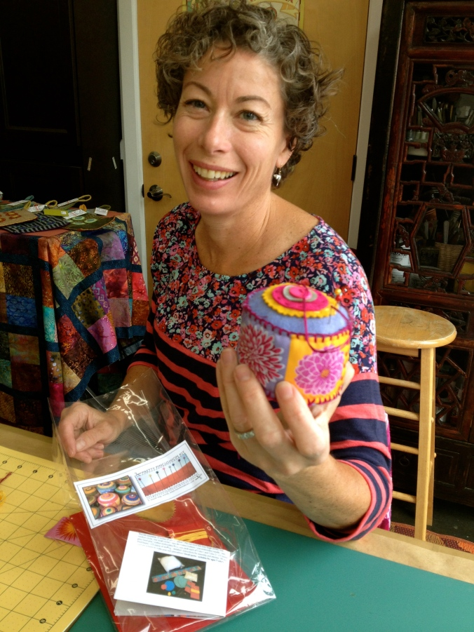Our BallardWorks pal, Gail of PoppyTop was her creative, awesome self, completing her pincushion in record time.