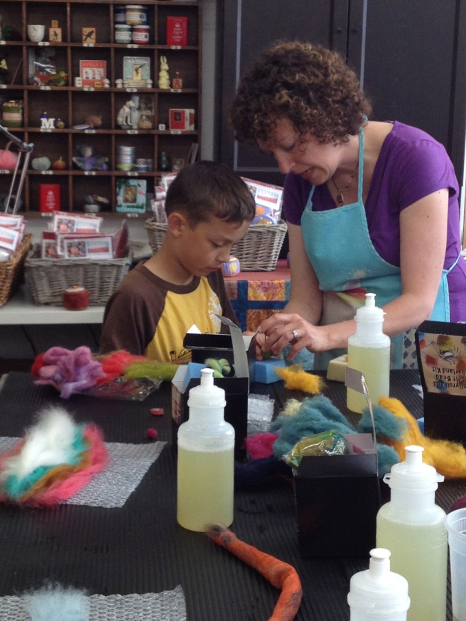 Studio mate, Leah loves teaching kids the art of needle felting.
